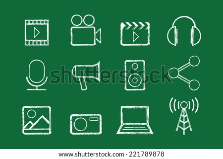 Sketched internet icons vector - stock vector
