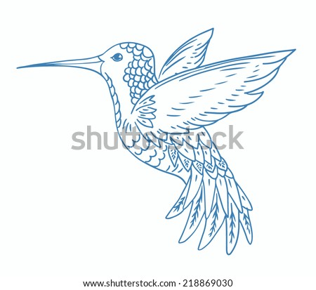 Sketched isolated hummingbird on white background, hand drawn vector illustration - stock vector