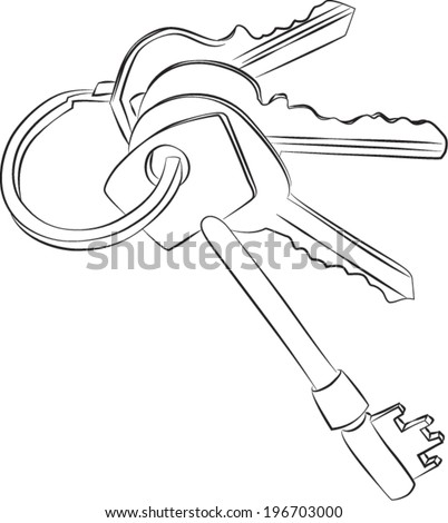 stock vector sketched line drawing of a set of four keys on a keyring or keychain 196703000 house wiring diagrams in uk house find image about wiring,House Wiring Diagrams With Pictures