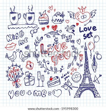 sketched love set - stock vector