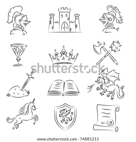 Sketched Medieval Icons Set - stock vector