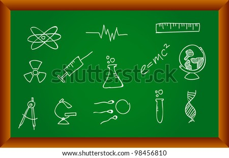 Sketched Science Icons - stock vector
