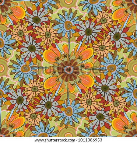 Sketched vector flower print in brown, orange and green colors - seamless background.