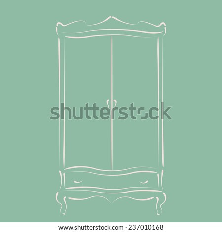 Sketched Vintage Wardrobe. Harmonic Colors. Background Can Be Easily  Removed. Vintage Wardrobe Closet