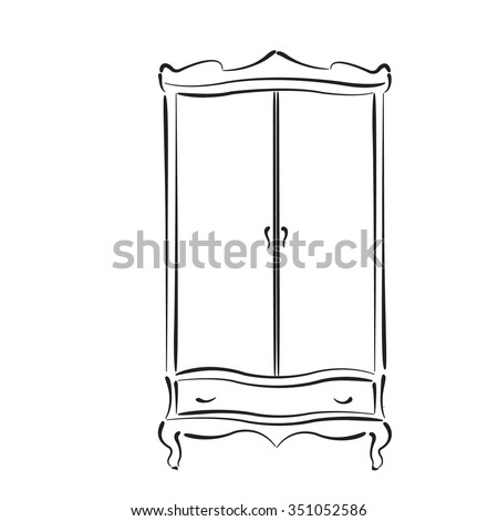 Wardrobe clipart black and white  Sketched Vintage Wardrobe Vintage Closet Vector Stock Vector ...