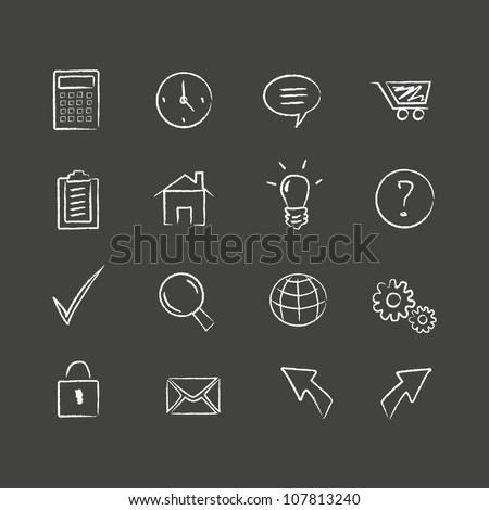 Sketched web icons. Hand drawn web icons. Layered file. - stock vector