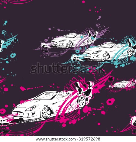 Sketches car made with ink. Black blob and color line on creative pattern - stock vector