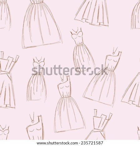 Sketches design dress hand drawn illustration seamless pattern