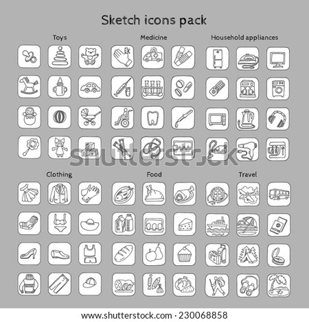 Sketches icons pack - stock vector