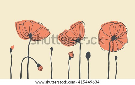 Sketches of flowers. Red poppies. Vector illustration - stock vector