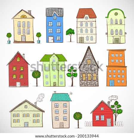Sketches of houses. Vector illustration.
