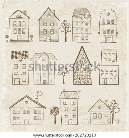 Sketches of houses. Vector illustration. - stock vector