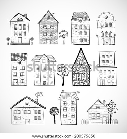 Sketches of houses. Vector illustration. Isolated on white. - stock vector