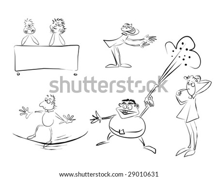 Sketches of human feelings and emotions: thoughtfulness, love, the rope-walker, balance, firing, the trainer, hospitality. - stock vector