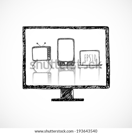 Sketches of mobile phone, old TV set, computer monitor, and notebook. Hand-drawn with ink. Vector illustration.  - stock vector