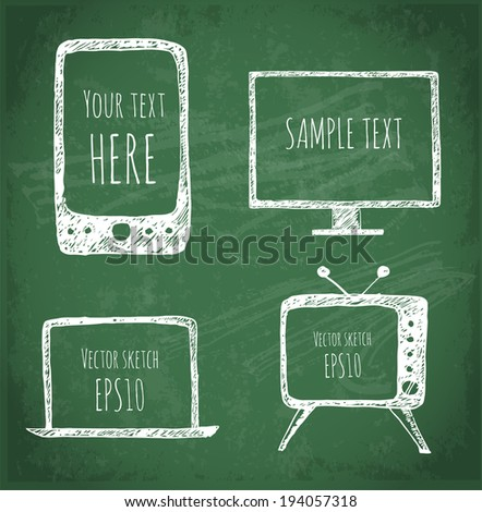 Sketches of mobile phone, old TV set, computer monitor, and notebook on blackboard.  Vector illustration.  - stock vector