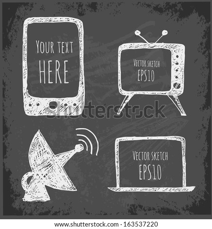 Sketches of mobile phone, TV set, antenna and notebook. Hand-drawn on blackboard. Vector illustration.  - stock vector