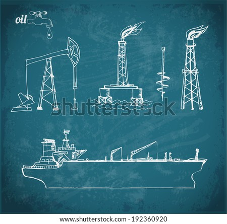 Sketches of oil rigs, offshore drilling platform and oil tanker ship. Vector illustration. - stock vector