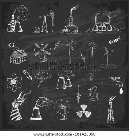 Sketches of oil rigs, oil platforms, thermal energy station and other sources of energy on blackboard. Vector illustration..  - stock vector