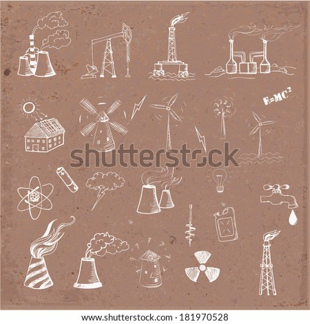 Sketches of oil rigs, oil platforms, thermal energy station and other sources of energy on brown paper. Vector sketch illustration.  - stock vector