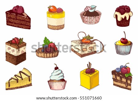 Sketches of scrumptious cupcakes, berry pie and chocolate tiered cake, decorated by butter cream, fresh strawberries and cherries.