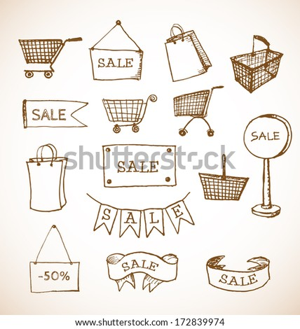 Sketches of shopping objects hand drawn in vintage style. Vector illustration - stock vector