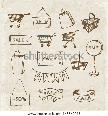 Sketches of shopping objects hand drawn in vintage style. Vector illustration.sale-sketch - stock vector