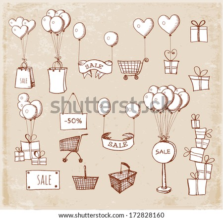 Sketches of shopping objects isolated on white. Vector illustration.  - stock vector