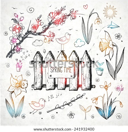 Sketches of spring objects: daffodils, crocus, pussy willow, snowdrops, birds isolated on white. Vector illustration. - stock vector