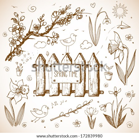 Sketches of spring objects:  daffodils, crocus, pussy willow, snowdrops, birds. Vector illustration. - stock vector