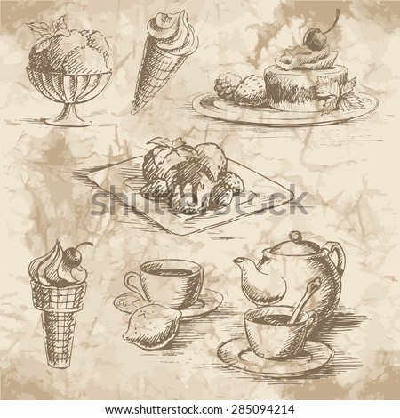 Sketches of the desserts,  ice cream and tee with teapot on the old paper background. Vector illustration. - stock vector