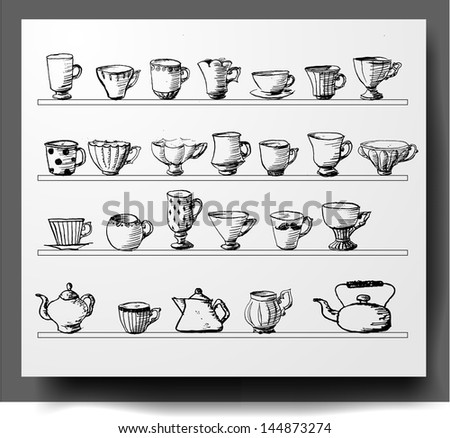 Sketches of vintage cups and tea pots isolated on white. Vector illustration. - stock vector