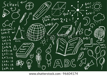 Sketches on blackboard, concept of school - stock vector