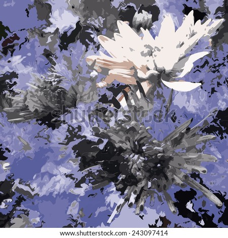 Sketching floral grunge stained  background with chrysanthemums in black,white,blue colors - stock vector