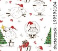 Sketching seamless pattern of funny New Year sheeps - stock
