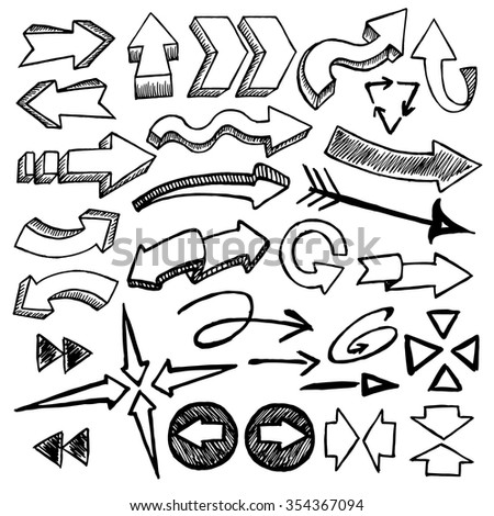 Sketchy arrows on white background. Hand drawn. Vector illustration. - stock vector