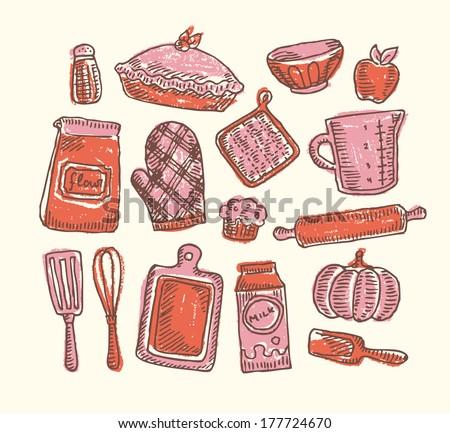 Sketchy Bakery - stock vector