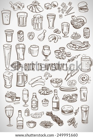 sketchy beer and snacks, vector hand-drawn illustration - stock vector