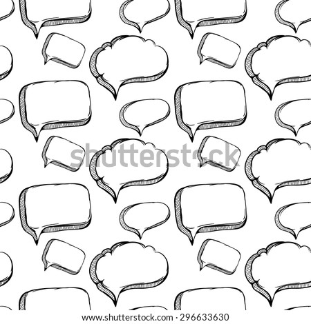 Sketchy Bubble Speech Outline Seamless Pattern - stock vector