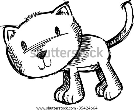 Sketchy Cat Vector Illustration - stock vector