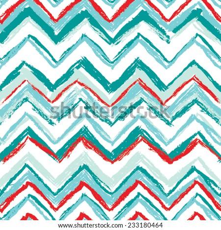 Sketchy Chevron Zig Zag Seamless Wallpaper Repeat - stock vector