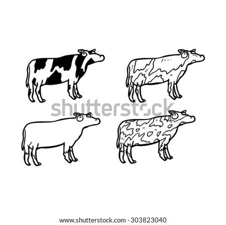 sketchy cows - stock vector