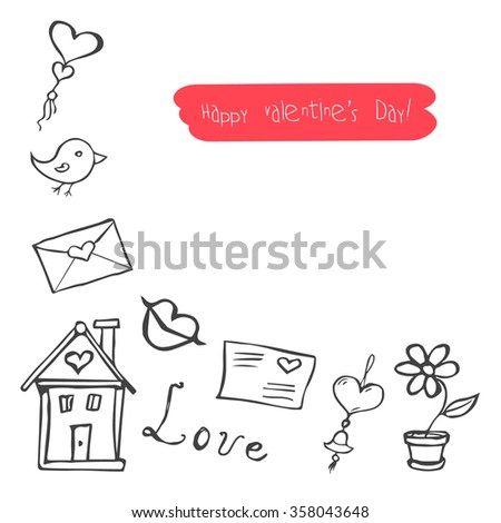 sketchy cute love signs doodles, Valentine's day vector illustration