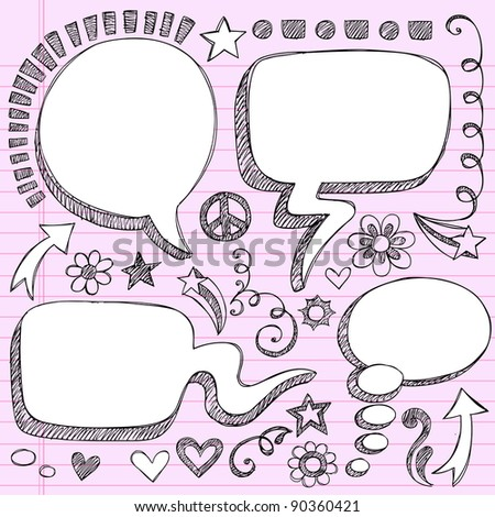 Sketchy 3-D Shaped Comic Book Style Speech and Thought Bubbles- Hand Drawn Notebook Doodles on Pink Lined Paper Background- Vector Illustration - stock vector