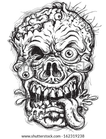 Sketchy Detailed Zombie Head - stock vector