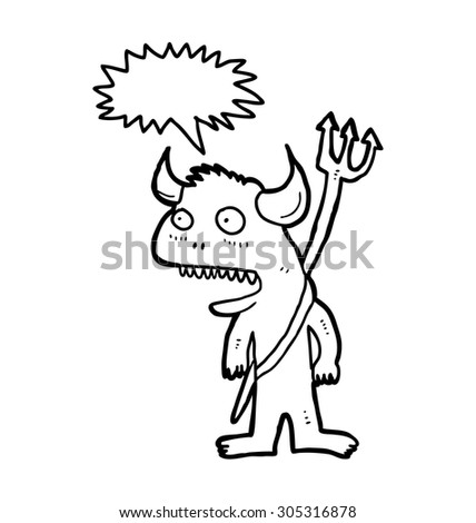 sketchy devil cartoon isolated on white background  - stock vector