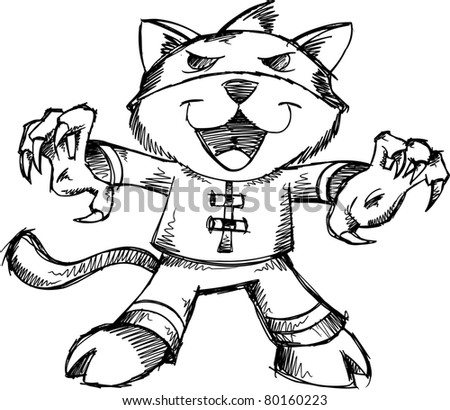 Sketchy doodle Bandit Warrior Cat Vector Illustration