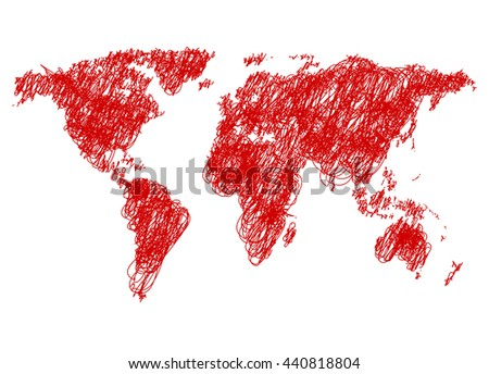 Sketchy doodle World map vector illustration - stock vector