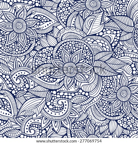 Sketchy doodles decorative floral outline ornamental seamless pattern - stock vector