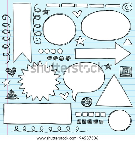 Sketchy Frames and Borders Hand-Drawn Notebook Doodles Set- Vector Illustration Design Elements on Lined Sketchbook Paper Background - stock vector